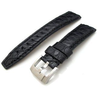 21mm Matte Black Genuine Matte Louisiana Alligator Head Leather Watch Strap Watches
