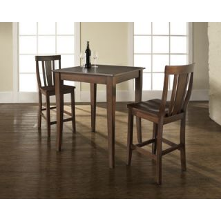 Crosley Three Piece Pub Dining Set with Cabriole Leg Table and Shield