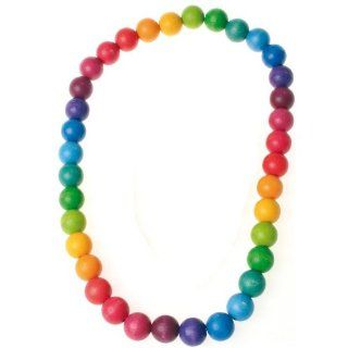 Grimm's Colorful Wooden Beads Rainbow Necklace for Baby & Child, 26 inch Length (Large Beads 20 mm diameter) Toys & Games