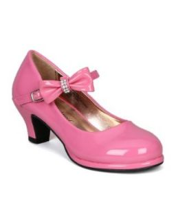 Little Angel Tasha 685E Patent Bow Mary Jane Pump (Toddler/Little Girl /Big Girl)   Fuchsia (Size Big Kid 4) Pumps Shoes Shoes