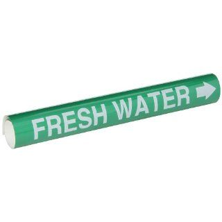 "Brady 5692 I High Performance   Wrap Around Pipe Marker, B 689, White On Green Pvf Over Laminated Polyester, Legend ""Fresh Water"" Industrial Pipe Markers"