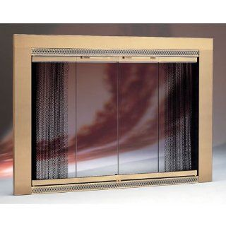 Copperfield 52110 Portland Willamette Antique Brass Glass Door, Model 3927, 39 1/16 x 27 3/8 Inchh   Fireplace Screens