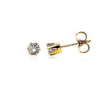 1/4 Carat Diamond Stud Earrings   14 Karat Yellow Gold Jewelry