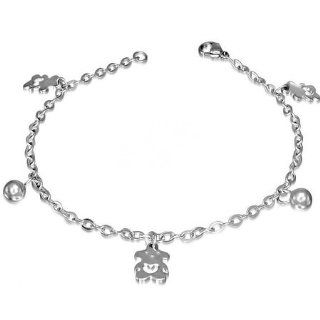 Stainless Steel Open Love Heart Teddy Bear Ball Charm Link Chain Bracelet Jewelry