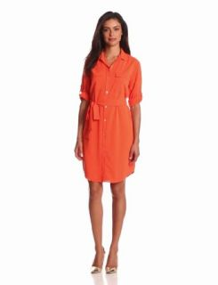 Calvin Klein Women's Shirt Dress, Tangerine, X Large