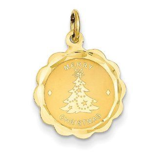 14k Merry Christmas Disc Charm   Measures 18x16mm   JewelryWeb Jewelry