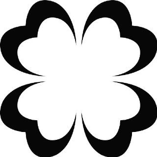 Heart Four Leaf Clover Outline Wall Art Sticker 02   Vinyl Sticker Wall Art Deco Decal   50cm Height, 50cm Width   Black Vinyl