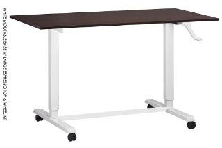 Adjustable Height Desk or Table   White Base with Large Top and Wheels   Sit to Stand Up Computer Workstation   Modern and Ergonomic (Espresso (Wood Grain Finish))   Home Office Desks