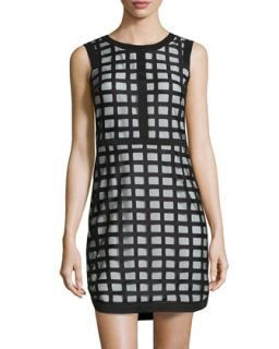 Checked Mesh Sheath Dress, Black/White