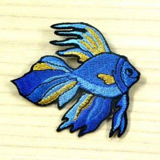 Gold Fish Sea Aqua Animal Cute Sew Iron on Patch 70mm Embroidered Applique Handmade Fast Shipping