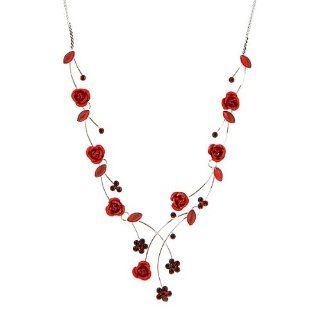 Perfect Gift   High Quality Elegant Rose Necklace with Red Swarovski Crystals and Crystal Glass (500) Chain Necklaces Jewelry