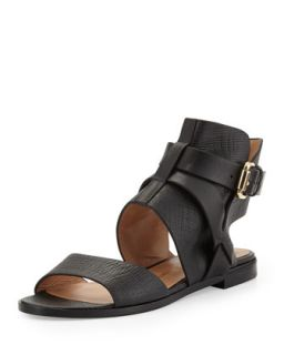 Womens Tanasha Textured Leather Ankle Strap Sandal, Nero   VC Signature
