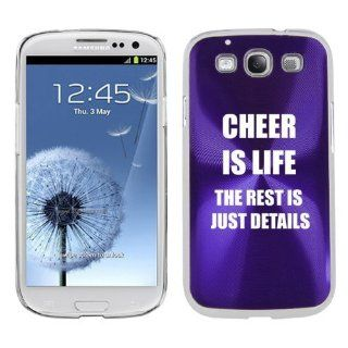 Purple Samsung Galaxy S III S3 Aluminum Plated Hard Back Case Cover K1288 Cheer is Life The Rest is Just Details Cell Phones & Accessories