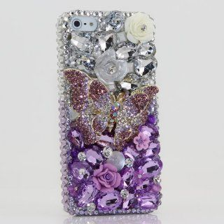 iphone 5 5S Luxury 3D Swarovski Crystal Diamond Butterfly Silver faded to Purple Design Bling Case Cover (100% Handcrafted by BlingAngels) Cell Phones & Accessories