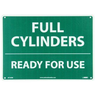 "NMC M744RB Cylinder Sign, Legend ""FULL CYLINDERS READY FOR USE"", 14"" Length x 10"" Height, Rigid Polystyrene Plastic, White on Green Industrial Warning Signs"