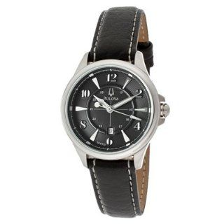 Bulova 96M110 Womens Adventurer Black Dial Leather Strap Watch at  Women's Watch store.