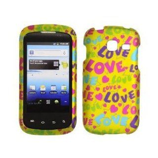 Samsung R730 / Transfix   Transparent Colorful LOVE, Hearts and Stars on Yellow Rubberized Design Plastic Case, SnapOn, Protector, Cover Cell Phones & Accessories