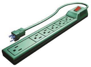 Stanley 50009 6 Outlet Power Strip with Transformer Outlet and 2 1/2 Foot Cord, Green   Power Strips And Multi Outlets