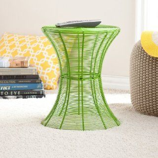 Contemporary Metal Wire Accent Table for Indoor and Outdoor, Green   End Tables