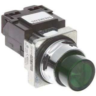 Siemens 52PL4K3 Heavy Duty Pilot Light, Water and Oil Tight, Plastic Lens, Transformer, 6V 755 Type Lamp or 6V LED, Green, 600VAC Voltage Indicator Lights