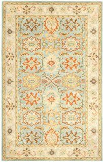 Safavieh Heritage Collection HG734A Handmade Light Blue and Ivory Hand Spun Wool Area Rug, 5 Feet by 8 Feet