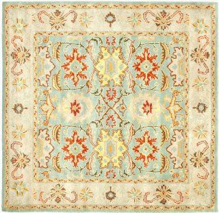Safavieh Heritage Collection HG734A Handmade Light Blue and Ivory Hand Spun Wool Area Rug, 6 Feet, Square