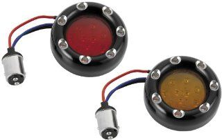 Arlen Ness LED Fire Ring Kit   Amber Lens   Black Trim   White LED   Dual Filament   1157 Style 12 759 Automotive