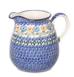 New Polish Pottery BEVERAGE PITCHER Boleslawiec CA Pattern 1370 Stoneware Kitchen & Dining