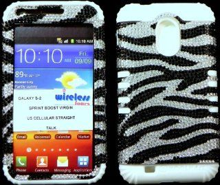 Heavy duty double impact hybrid Cover case Black and Silver Zebra Bling hard snap on over white soft silicone with Touch Pen, Zebra Earpiece, Winder and multi fiber cleaning cloth for SAMSUNG S2 Galaxy EPIC 4G TOUCH D710 R760 for SPRINT/BOOST MOBILE/VIRGIN