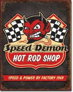 "Speed Demon Hot Rods Metal Tin Sign 16""h X 12.5""w  Decorative Hanging Ornaments"