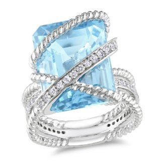 Sterling Silver Blue Topaz and Diamond Ring (0.3 Cttw, G H Color, I1 I2 Clarity) Jewelry