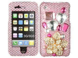 Golden 3D Bling Rhinestone Diamond Crystal Hard Cover Apple 3g 3gs Gen Cell Phones & Accessories