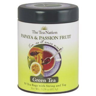 The Tea Nation String and Tag Green Tea Bags, Papaya and Passion Fruit, 50 Count (Pack of 3)  Grocery & Gourmet Food