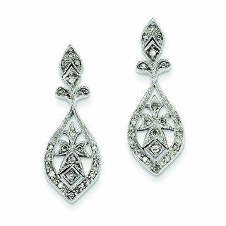 0.3 Carat 14K White Gold Vintage Diamond Dangle Earrings Jewelry
