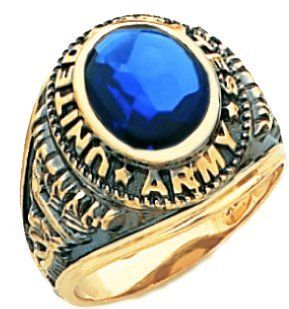Men's 10k Yellow Gold United States US Army Vietman Military Open Back and Blue Stone Jewelry