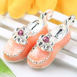 20pc Silver Plated Orange Enamel Crystal Shoes Charm Beads AB813 2