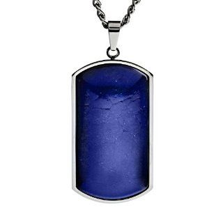 Stainless Steel Blue Lapis Natural Stone Dog Tag Pendant   24 Inches West Coast Jewelry Jewelry