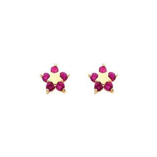 14K Yellow Gold Star Red CZ Stud Earrings for Baby and Children Jewelry
