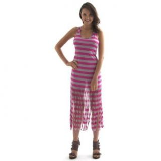 Striped Racerback Maxi Dress with Fringe, XL, Pink and Gray