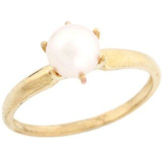 14k Solid Yellow Gold Freshwater Pearl Solitaire Promise Ring Jewelry Jewelry