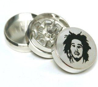 Bob Marley Mini 1.5 wide metal 3 parts, tobacco herb grinder,  Spice Mills
