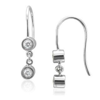 14k White Gold Round Diamond Drop Earrings (GH, I1 I2, 0.20 carat) Diamond Delight Jewelry