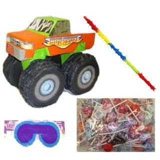 Green Monster Truck Pinata Party Pack/Kit Including Pinata, Lollipop Candy Pinata Filler Mix 2lb , Buster Stick and Blindfold Toys & Games