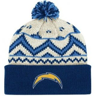 NFL End Zone Cuffed Pom Knit Hat   KD80Z, San Diego Chargers, One Size Fits All  Sports Fan Beanies  Clothing