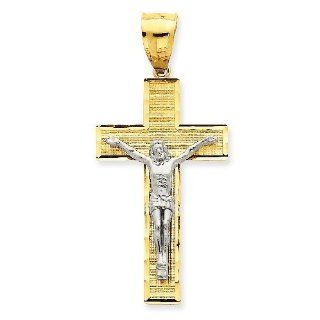 14k Gold Two Tone Gold Diamond  Cut Crucifix Pendant Jewelry