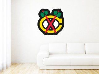 "Chicago Blackhawks NHL Logo Wall Graphic Decal Sticker (25"" x 25"")  Sports Fan Wall Decor Stickers  Sports & Outdoors"