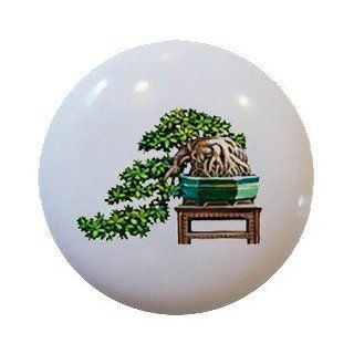 Oriental Plant Bonsai Ceramic Knobs Pulls Kitchen Drawer Cabinet Vanity 787   Cabinet And Furniture Knobs