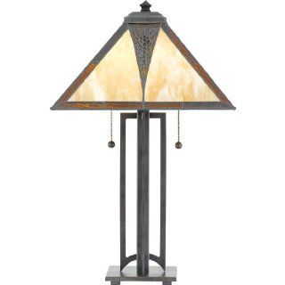 Quoizel TF768TVA Danica 23 Inch Tiffany 2 Light Table Lamp with 48 Pieces of Tiffany Glass, Valiant Bronze