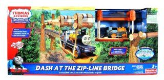 "Fisher Price Year 2011 Thomas and Friends ""Misty Island Rescue"" Movie Series Trackmaster Motorized Railway Battery Powered Tank Engine Playset   DASH AT THE ZIP LINE BRIDGE with Complete Track Set, Zip Line Bridge and Motorized Dash Toys & G"