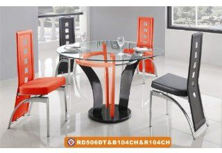 "American Eagle Furniture 506DT & 104CH 45"" Red and Black Glass & Leatherette Dining Set   Dining Room Furniture Sets"
